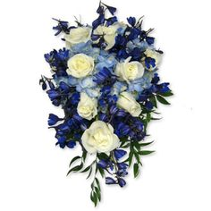 Blue Wedding Flowers | White & Blue Cascade - Florist in Richmond Virginia - Vogue Flowers