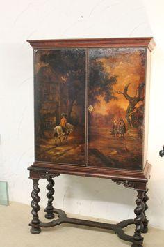 Schrank  Stollenschrank Kabinettschrank Ölgemälde um 1850 aus Adelsbesitz