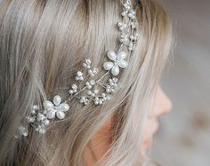 ON SALE White hair wreath Wedding headpiece by MyGlassLampwork