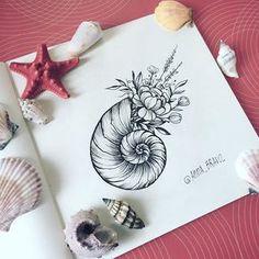 Floral shell tattoo by @anna_bravo_                                                                                                                                                                                 Más Tattoo Drawings, Ocean Theme Tattoos, Ocean Sleeve Tattoos, Tattoo Artists, Seashell Tattoos, Mermaid Tattoos, Flower Tattoos, Black Tattoos, Cute Tattoos