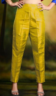 Golden Yellow Cigarette Pants Skinny Trousers - Silk Source by kimweideman pants Salwar Designs, Kurta Designs Women, Kurti Designs Party Wear, Silk Kurti Designs, Salwar Pants, Kurta With Pants, Salwar Kameez, Churidar, Silk Pants