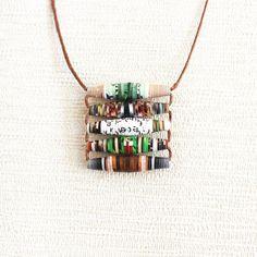 Garden Magazine Necklace • Earthy Jewelry • Boho Chic Necklace • Gift for Garden Lover • Eco Friendly Jewelry • Recycled Paper Bead Jewelry Paper Bead Jewelry, Paper Beads, Boho Jewelry, Jewelry Crafts, Beaded Jewelry, Fabric Beads, Fabric Jewelry, Jewelry Ideas, Jewelery