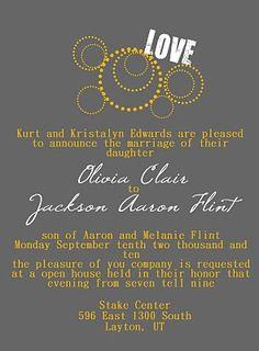 Gray and Yellow Wedding invitation