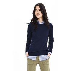 Banana Republic Womens Extra Fine Merino Wool Pullover Sweater ($78) ❤ liked on Polyvore featuring tops, sweaters, preppy navy, crew neck pullover sweater, crewneck sweater, crew neck sweaters, preppy sweaters and navy blue tops
