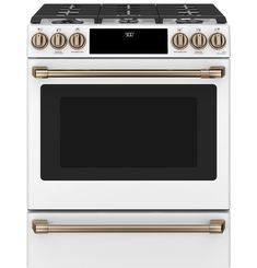 "C2S900P4MW2 Overview - Café™ 30"" Slide-In Front Control Dual-Fuel Convection Range with Warming Drawer 
