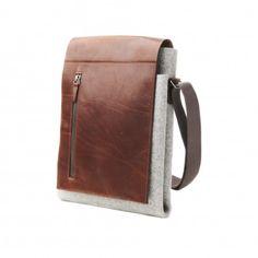 Wool Felt and Bridle Leather Tabacco Brown iPad Messenger Bag Graf & Lantz