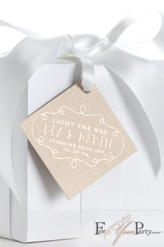 These beautiful personalized gift tags featuring stardream rose gold paper and shiny  champagne imprint foil color are add a touch of class and elegance to your wedding party. Visit ForYourParty.com to explore hundreds of options to match your wedding theme.