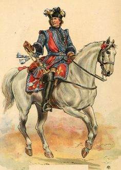 French; Cavalry Regiment La Reine, trumpeter, 1730