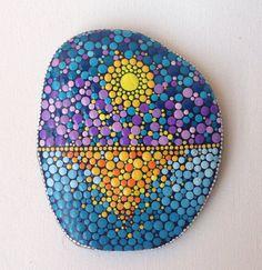 Big Dot Art Sunset stone - Painted stone painted rock Fairy garden marker decoration stone art dotilism blue