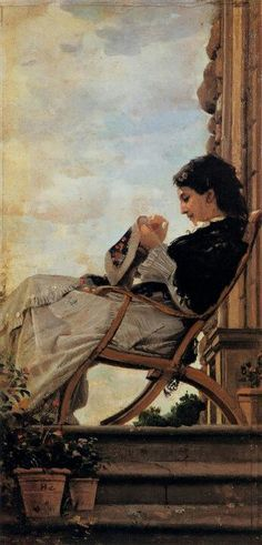 BANTI, Cristiano Italian painter (b. Santa Croce sull'Arno, d. Montemurlo) Woman Sewing on the Terrace 1882 Oil on canvas, 31 x 15 cm Galleria Palatina (Palazzo Pitti), Florence Art Du Fil, Italian Painters, Hans Christian, Sewing Art, Paintings I Love, Oeuvre D'art, Love Art, Female Art, Fiber Art