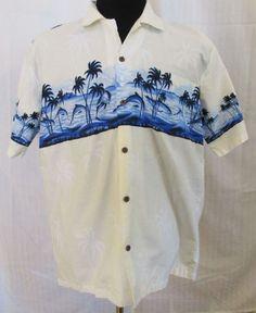 Aloha Fashion Hawaiian Shirt Size XL White w/ Blue Dolphins & Palm Trees Cotton #Aloha #Hawaiian