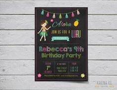 Hula Girl 5x7 invitation Pick Your Hair Color by KarinakdDesigns