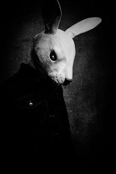 Rabbit (Animal Mask). Photo by Kayleigh McCallum. Original in colour now linked to Pin. °