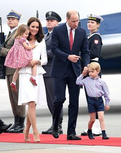William, Kate and their children Prince George and Princess Charlotte arrived in Polland, July 2017