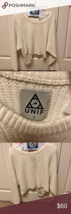 UNIF Cropped White Sweater Freshly dry cleaned UNIF distressed cropped sweater worn once! 100% acrylic. In perfect condition! UNIF Sweaters Crew & Scoop Necks