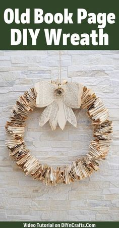 Turn an old book into this gorgeous folded old book page wreath! It's a gorgeous addition to your door or home decor with just a few supplies! Diy Old Books, Old Book Crafts, Book Page Crafts, Recycled Books, Frame Wreath, Diy Wreath, Wreath Crafts, Wreath Ideas, Diy And Crafts