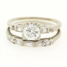 Vintage Engagement Diamond Ring Set