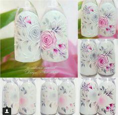 Floral Nail Art, Arte Floral, 3d Nail Art, Nail Arts, Fabulous Nails, Gorgeous Nails, Pretty Nails, Rose Nails, Flower Nails