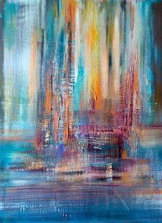 ARTFINDER: Color rainbow 2 - Abstract Acrylic Pa... by Mo Tuncay - Overview Handmade item Dimensions: 60x80cm   I ship my paintings with original painting packaging  worked  with brushes and paletknife , hope you like it