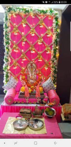 Flower Decoration For Ganpati, Eco Friendly Ganpati Decoration, Ganpati Decoration Design, Gauri Decoration, Mandir Decoration, Ganapati Decoration, Board Decoration, Diwali Decorations At Home, Backdrop Decorations