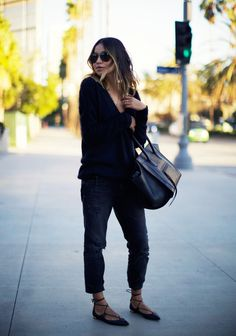 MAJE fuzzy angora sweater (similar here + turtle neck here) ZARA boyfriend jeans (AG Adriano jeans here + similar here) AQUAZURRA 'christy' leather flats SAINT LAURENT aviator sunnies