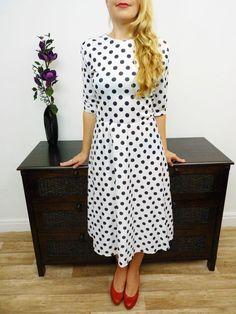 VINTAGE 80s WHITE BLACK POLKA DOT SWING DRESS ROCKABILLY 14 16 £26.00