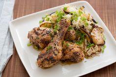 Yuzu Kosho-Glazed Chicken Drumsticks with Shiitake Mushrooms, Turnip & Rice Salad. Visit https://www.blueapron.com/ to receive the ingredients.