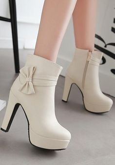 Available Sizes Shaft Height Heel Height Platform Height Heel Height :High Heel Type :Chunky Boot Shaft :Ankle Color :Beige Toe :Round Shoe Vamp :PU Leather Closure :Zipper High Heel Boots, Ankle Boots, Fashion Heels, Fashion Boots, Mode Kpop, Kawaii Shoes, Looks Chic, Cute Boots, Dream Shoes
