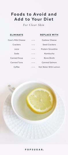 7 Foods to Absolutely Avoid If You Want Clear, Glowing Skin You can reap skin benefits by making these seven food swaps. Lipman outlined which foods to avoid, why they are toxic for your skin, and what to replace them with. Avocado Smoothie, Foods To Avoid, Foods To Eat, Clear Skin Diet, Foods For Clear Skin, Glowing Skin Diet, Detox Water For Clear Skin, Whole Food Recipes, Healthy Recipes