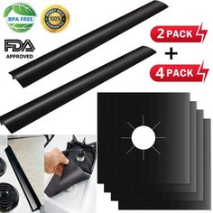 Stove Burner Covers Gas Range Protectors and Stove Counter Gap Cover Reusable Fast Clean Liners for Kitchen/Cooking, Non-Stick, Heat-resistant, Cuttable, 4 Pack Stovetop Burner Pack Gap Cover Stove Burner Covers, Cutting Tables, Cool Kitchens, Outdoor Power Equipment, Counter, Packaging, Cleaning, Fast Clean, Awesome Kitchen