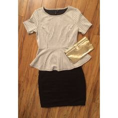 Elle Houndstooth Peplum Top Flirty peplum short-sleeve top made by Elle. Classy houndstooth pattern. Brand new with tags! Elle  Tops