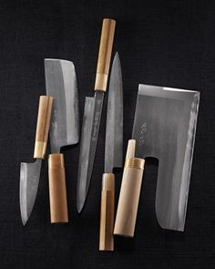 I try to use each of my knives as intended (from left): a deba for butchering fish, a nakiri usuba for vegetables, two yanagiba for slicing sashimi, and a menkiri for slicing noodles from rolls or folds of dough. Japanese Cooking Knives, Japanese Kitchen Knives, Damascus Steel Kitchen Knives, Fancy Kitchens, Cooking Tools, Cooking Games, Cooking Classes, Custom Knives, Lame