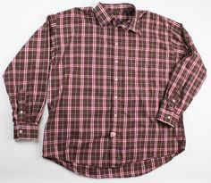 Burberry London Mens XXL 2XL Brown Red Plaid LS Button Front Shirt Made in USA #BurberryLondon #ButtonFront