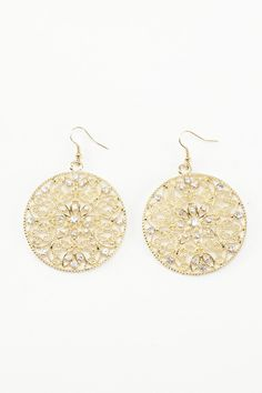 Dressing Your Truth - Type 1 Sunshower Earrings     With an ornate filigree design and glittering rhinestone accents, these gold colored earrings are the perfect bright accessory.        2 3/4 inches in length      French Hook      Single earring weight, .45 oz