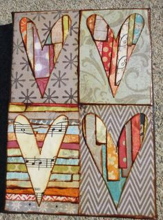 Four (4) panel: Mixed media heart collage on canvas