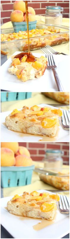Peaches and Cream French Toast Casserole | www.chocolatewithgrace.com