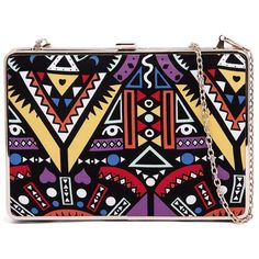 I Love Billy 201 Multi Tribal Print Clutch (95 BRL) ❤ liked on Polyvore featuring bags, handbags, clutches, chain strap handbag, sling purse, tribal print handbags, party purse and chain handle handbags