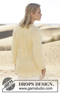 """Knitted DROPS jacket with lace pattern, raglan and V-neck in """"Paris"""". Size: S - XXXL. ~ DROPS Design"""