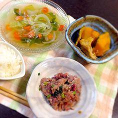あじのなめろう スッポン野菜スープ カボチャ煮付け - 4件のもぐもぐ - 2012.2.21献立 by ykmama