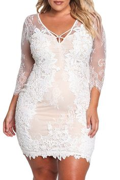 White Floral Embroidered Lace Plus Size Dress modeshe.com Plus size women fasion moda dress clothe Swimwear Tops Bottoms, dress, clothe, women's fashion, outfit inspiration, pretty clothes, shoes, bags and accessories