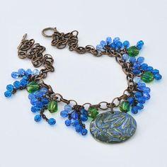 Floral Garden Ceramic Pendant Necklace, Dangling Vining Flowers, Czech Glass Beaded Fringe, Feathery, Blue, Green, Sapphire, Designer Jewelry, Handmade, #ArtwryksJewelry