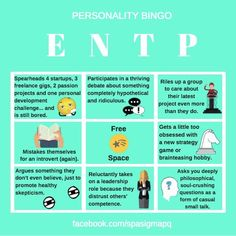 ENTP Personality Bingo 16 Personalities, Myers Briggs Personalities, Entp Personality Type, Enneagram Types, Intp, Health And Wellness, Psychology, Bullshit, Aries