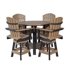 Amish Leisure Lawns Poly Balcony Table Set with Four Swivel Chairs Set up outdoor dining with a popular poly table set. Comes with table and four swivel chairs. Made with eco friendly poly. Dine in comfort and style with maximum durability. #diningsets Pub Dining Set, Round Pub Table, Outdoor Dining Furniture, Outdoor Chairs, Outdoor Table Settings, Amish Furniture, Table Dimensions, Bar Chairs, Swivel Chair