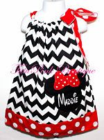 Pillowcase Tie Dress Minnie Mouse Inspired Black Chevron Disney Embroider Applique Minnie Mouse Applique Tutu Pink Boutique Tutu Pink Pink Tutu Photo Prop Boutique Dress