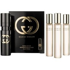 Gucci Guilty Eau de Toilette Purse Spray Refills, 4 x 15ml ($59) ❤ liked on Polyvore featuring beauty products, fragrance, makeup, perfume, beauty, fillers, backgrounds, edt perfume, gucci and perfume fragrance