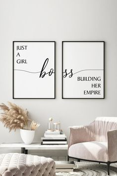 Office Wall Decor, Office Walls, Office Cabinets, Boss Babe, Girl Boss, Home Office Space, Inspirational Wall Art, Decorate Your Room, Office Interiors