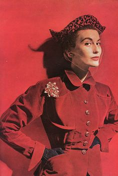VOGUE, december 1949. I love red. I love leopard. I love that brooch. This pin was inevitable.