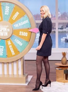 Holly Willoughby Feet, Holly Willoughby Outfits, High Heels Outfit, Tights Outfit, Posi, Curvy Women Outfits, Cute Dress Outfits, Hourglass Fashion, Tv Girls