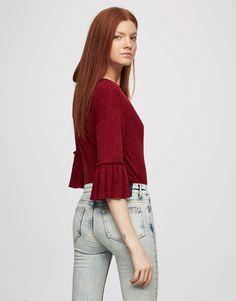 Sweater med flæseærmer - Strik - Tøj - Dame - PULL&BEAR DANMARK