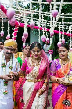 South Indian bride. Gold Indian bridal jewelry.Temple jewelry. Jhumkis. silk kanchipuram sari.Braid with fresh flowers. Tamil bride. Telugu bride. Kannada bride. Hindu bride. Malayalee bride.Kerala bride.South Indian wedding.